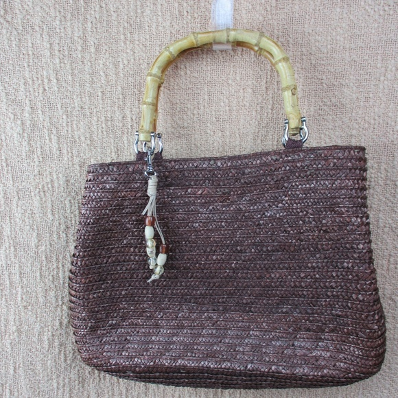 White Stag Handbags - White Stag Brown Wheat Straw Handbag Bamboo Handle